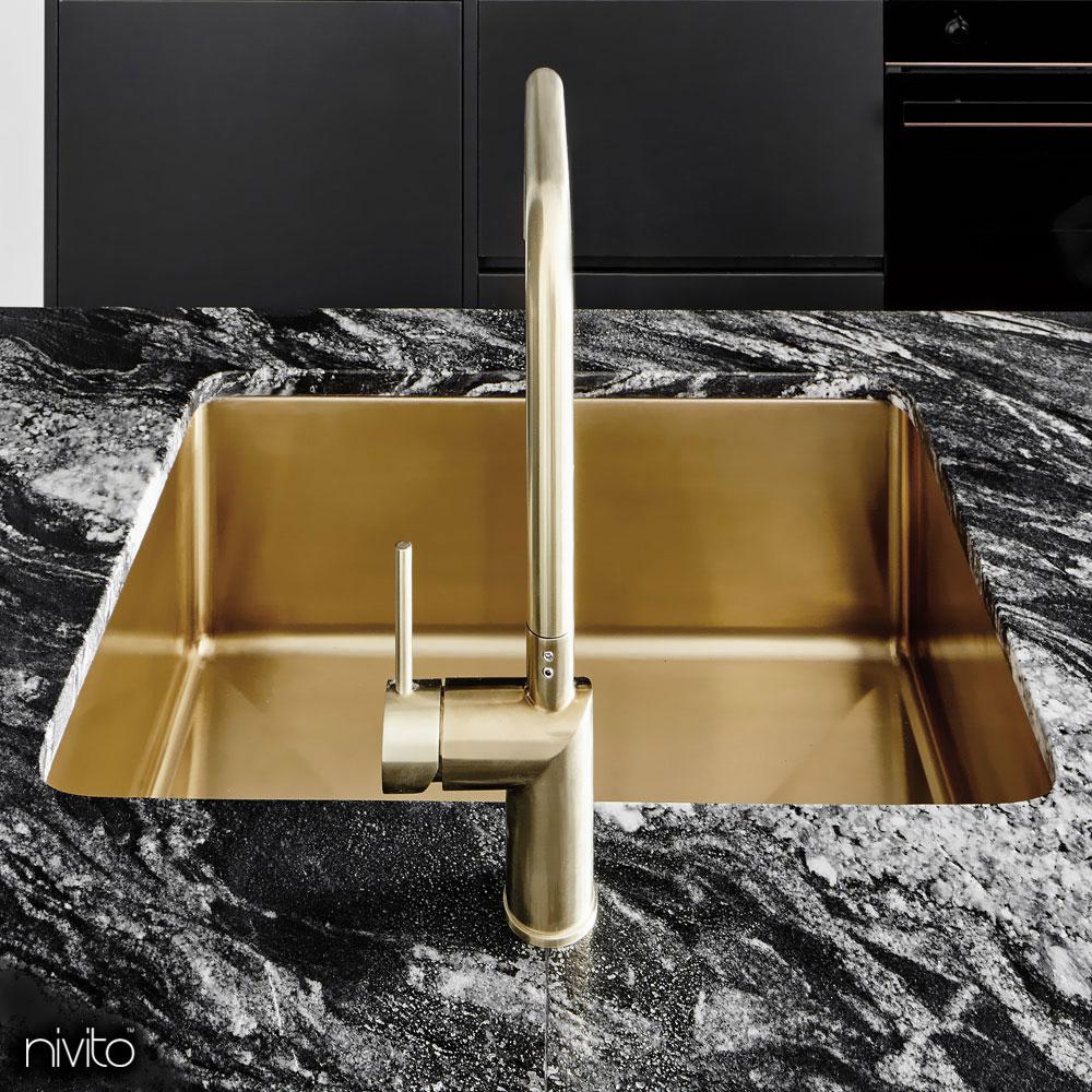 Oro dorado laton fregadero cocina
